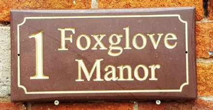 Honed Red Sandstone House Sign (400mm x 200mm)